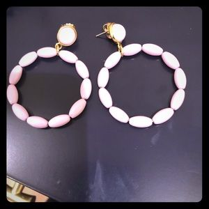 Beaded lilac open circle statement earrings